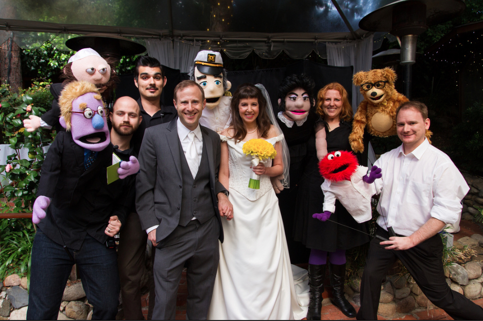 Joe Gold and Tammy Caplan were wed by a puppet in their creative and nontraditional wedding. Photo by Robert Orsa.
