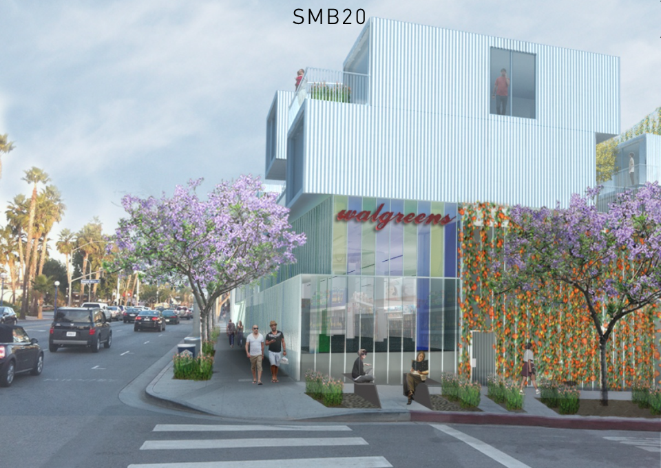 City of West Hollywood is currently in negotiations with Walgreens Boots Alliance over the lot at the corner of Santa Monica and Crescent Heights. Photo courtesy of Lorcan O'Herlihy Architects.