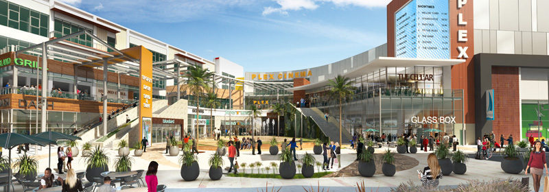 A projected view of the Central Plaza at NoHo West.