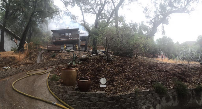 On July 18, a two-alarm fire, possibly caused by lightning, destroyed a two-story Topanga home.(Twitter via @LACountyFDPIO)