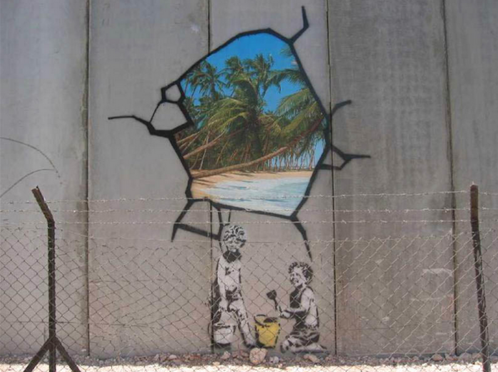 """Unwelcome Intervention"" by Banksy on the Palestinian Wall"