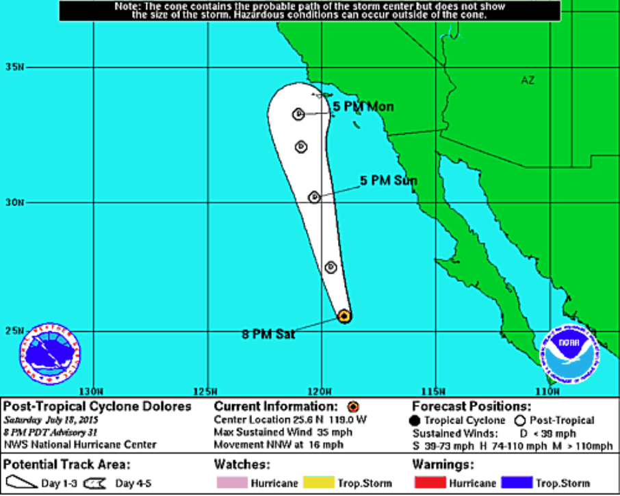 Current Weather A Result Of Tropical Storm Dolores
