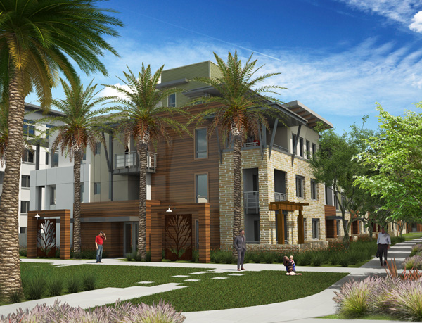 A projected image of NoHo West's future residential apartments.