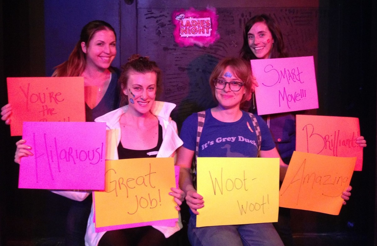 "The original members of the ""That's What She Said"" comedy troupe: Lara Zvirbulis, Stephanie Bentley Pollard, Carmen Angelica and Diana Varco."