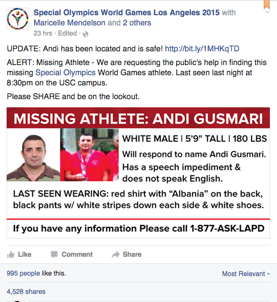 """""""Special Olympics World Games Los Angeles 2015"""" Facebook post asking for the public's help in the search for Albanian Special Olympic athlete, Andi Gusmari"""