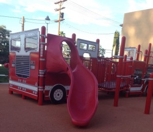 The park's firetruck-shaped play area. Photo via Josie P on Yelp.