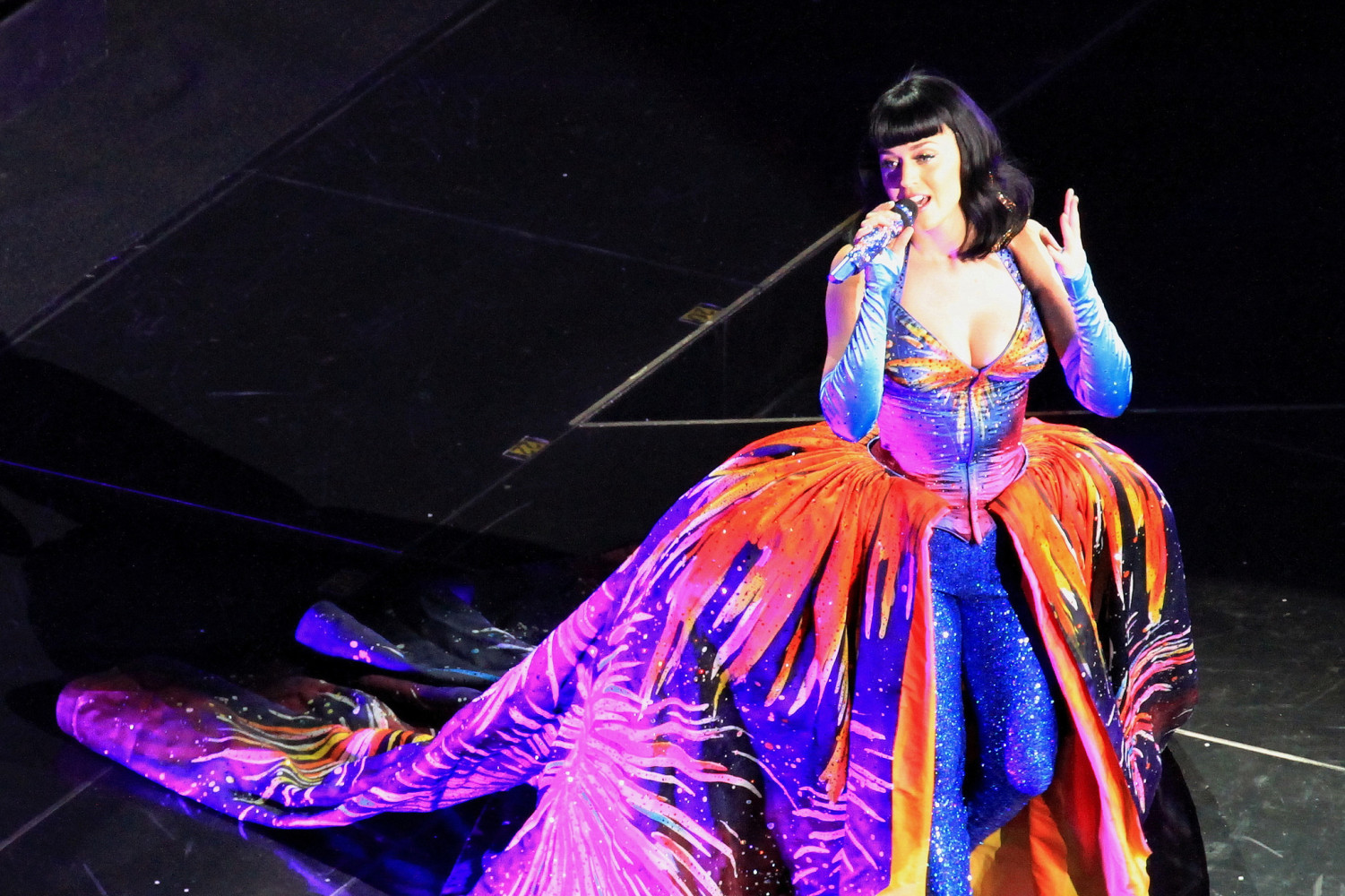 Katy Perry performing on the Prismatic World Tour. Photo via Sleepyibis on Flickr.