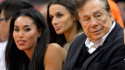 Donald Sterling with V. Stiviano at a Clipper game