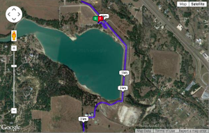 Map of the 5k route. It is noted that the course is a mixture of paved and unpaved trails.