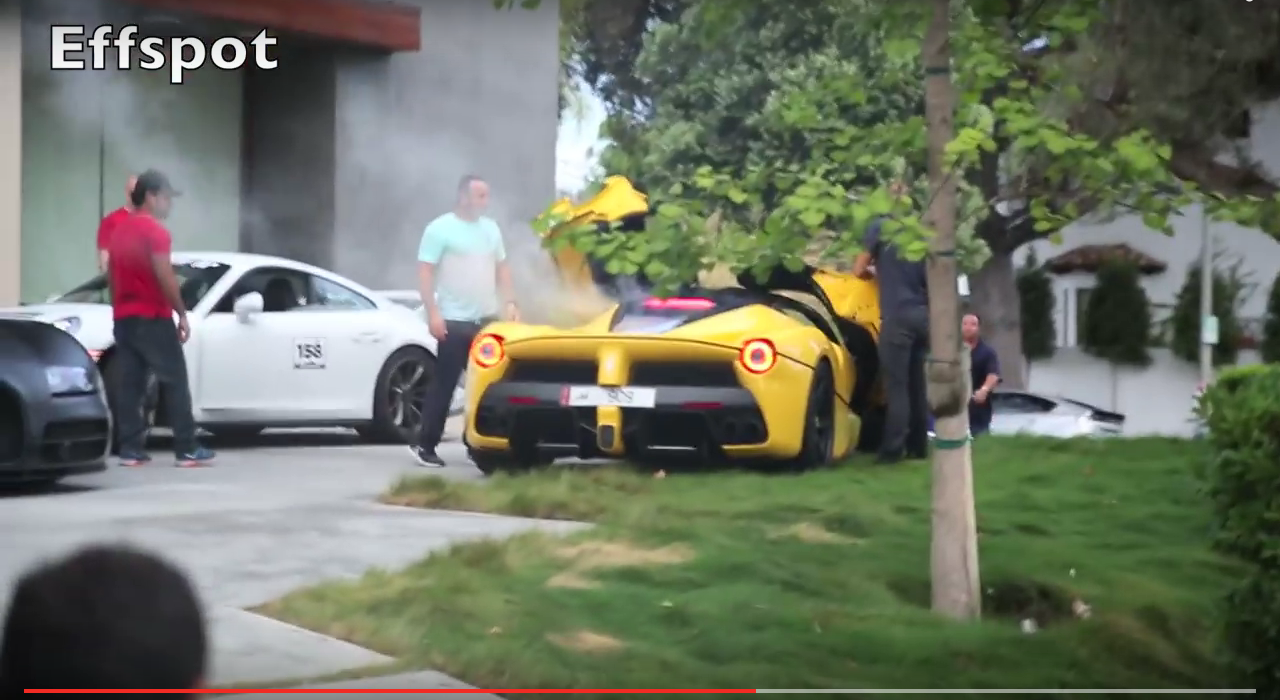 The Ferrari's engine started giving off smoke at the end of the video.
