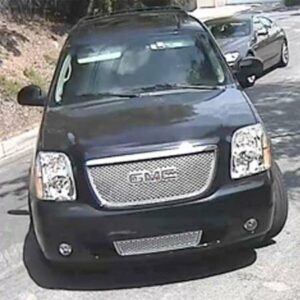 A still from the surveillance camera that caught the image of the SUV believed to belong to the burglar that made away with a French bulldog puppy. Photo via Craigslist