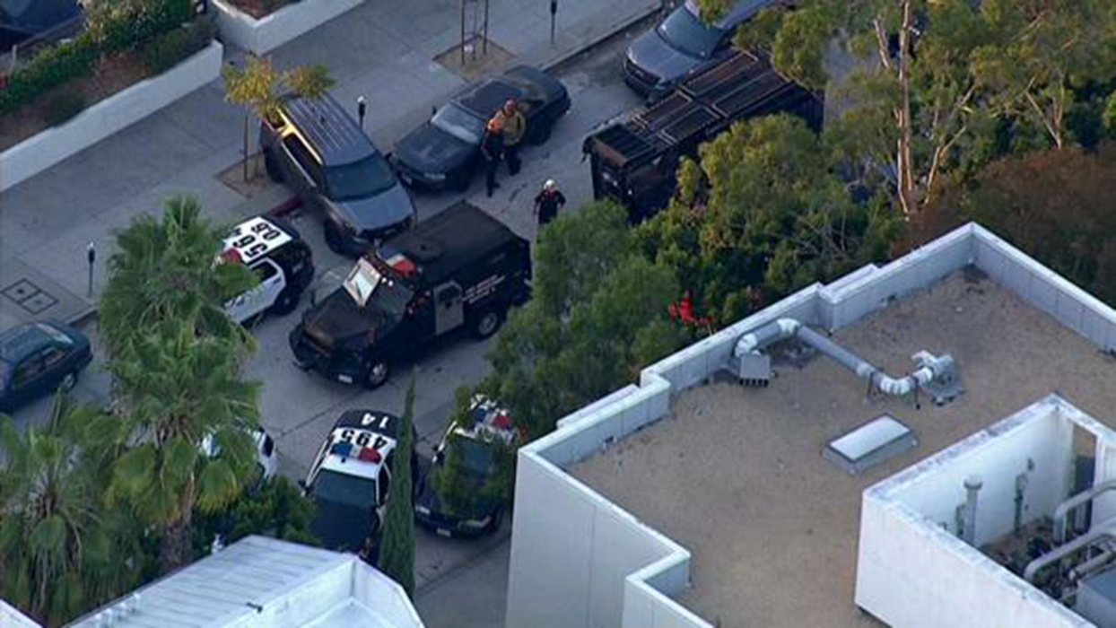 An aerial view of LAPD's search for the Westwood gunman.
