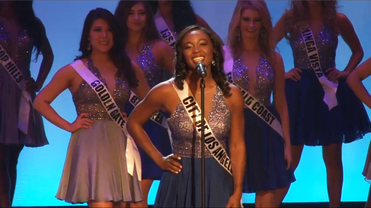 Miss Sasha Crossman, 24, competes at the Miss California, USA pageant, in Long Beach, California.