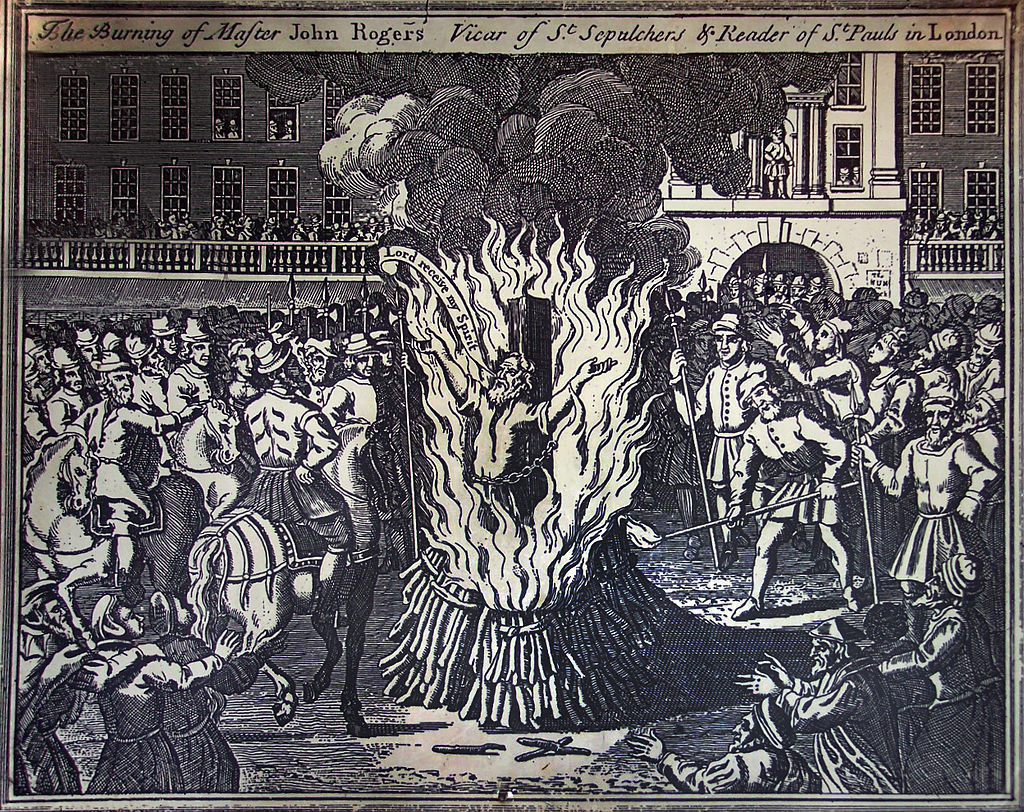"""Murder of John Rogers, """"first English Protestant martyr under Mary I of England"""""""