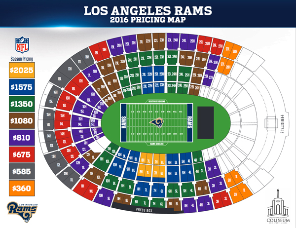 Los Angeles Rams Season Ticket Prices Released Canyon News: Los Angeles Memorial Coliseum Seating Map At Infoasik.co