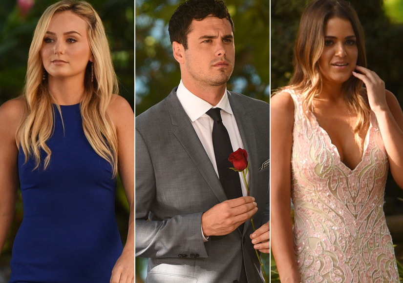 Ben Higgins Middle Chooses Between Current Bachelorette JoJo Fletcher Right And Lauren Bushnell Left In The Bachelor Season 20 Finale
