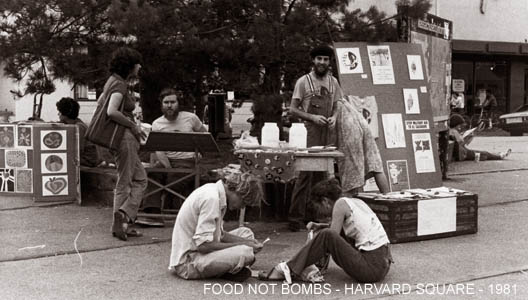 Foot Not Bombs in Harvard Square, 1981.