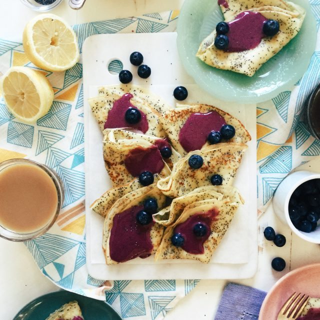 Lemon Poppy Seed Crepes with Blueberry Curd, from Joy the Baker