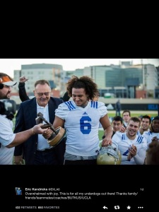 """Overwhelmed with joy. This is for all my underdogs out there! Thanksfamily/friends/teammates/coaches/BUTKUS/UCLA"""