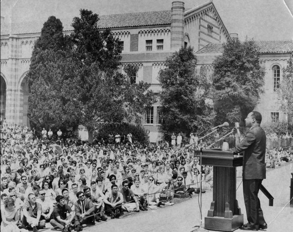 MLK pictured at the bottom of UCLA's Janss Steps delivering the famed speech