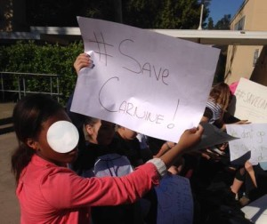 Students and parents rally in support of Carnine. Photo courtesy of Support Mr. Carnine's Facebook Page.