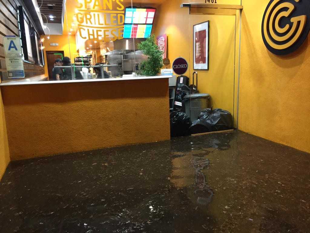 Greenspan's Grilled Cheese was flooded during the rains, but didn't sustain any permanent damage.