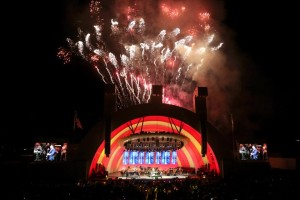 On stage for Opening Night at the Hollywood Bowl are Journey, the HBO, YOLA, and the LACHSA Choir