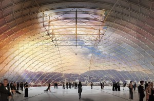 An artist's rendering of inside the sphere of the AMPAS museum.