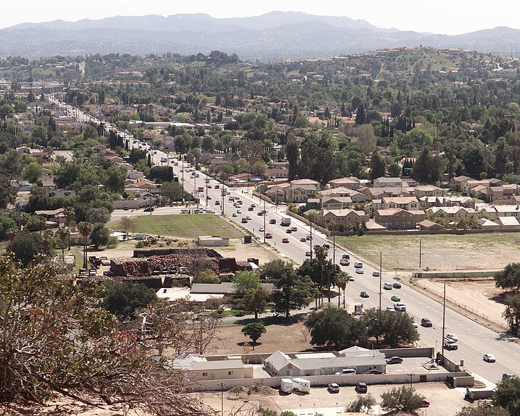 An image of Topanga Canyon Boulevard lined with utility poles.