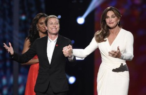Abby Wambach and Caitlyn Jenner center stage at the Espys