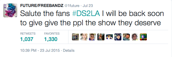 Future's tweet after the first cancellation.