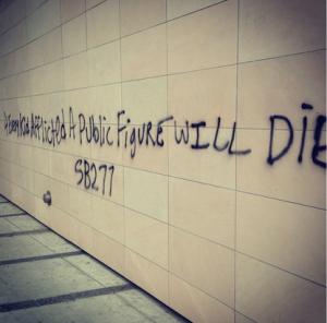 Instagram photo capturing the Anti-Vaccine Graffiti on the Santa Monica Freeway