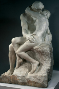 "Rodin sculpture, ""The Kiss"""