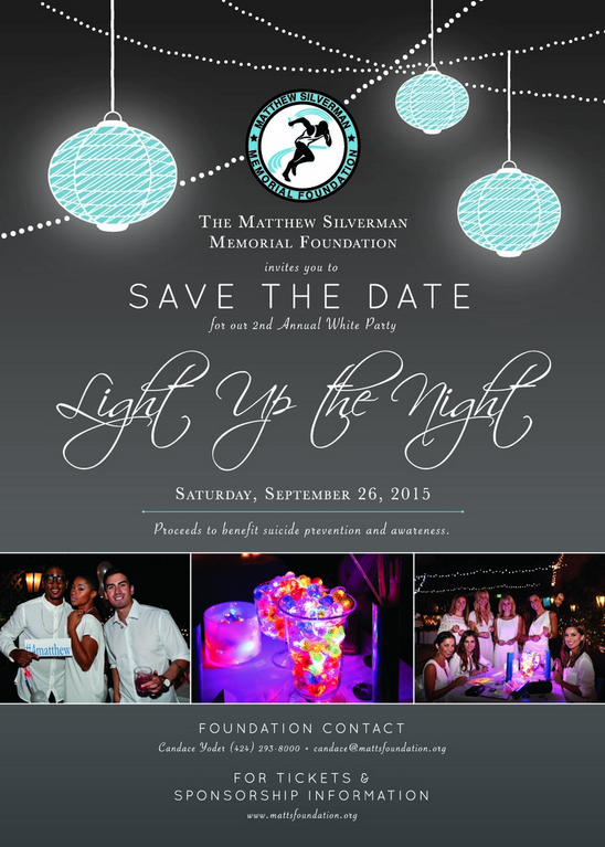 """Light Up The Night"" invitation posted on the Matthew Silverman Memorial Foundation's Facebook."