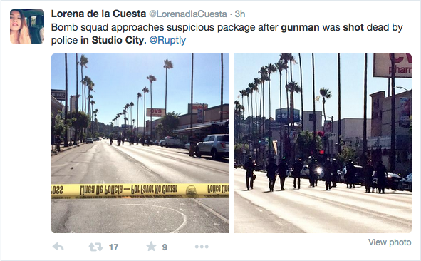 A Tweet of the Bomb Squad from a bystander