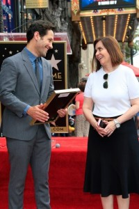 Paul Rudd with Vice President, Media Relations Producer, Hollywood Walk of Fame Ana Martinez