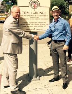 Tom LaBonge and Mitch O'Farrell at the newly designated LaBonge Squre in Los Feliz.