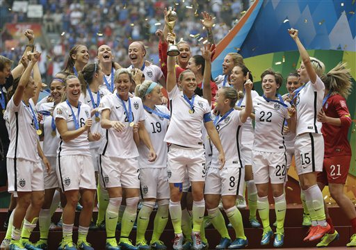 Holiday and the rest of the United States Women's National Team celebrates their victory over Japan in the 2015 FIFA World Cup Final.