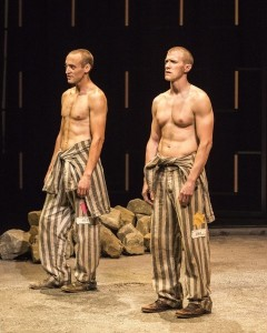 Charlie Hofheimer (Left) and Patrick Heusinger (Right) onstage during an emotional scene at the concentration camp.