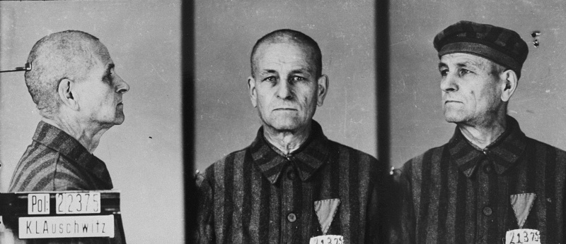 Concentration camp prisoners were forced to wear different-colored triangle badges in order to differentiate their identities.
