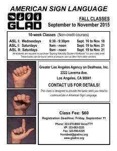 The promotional flyer for GLAD's Fall 2015 ASL courses.