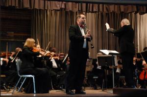Jerome Kessler (right) conducting the Topanga Symphony