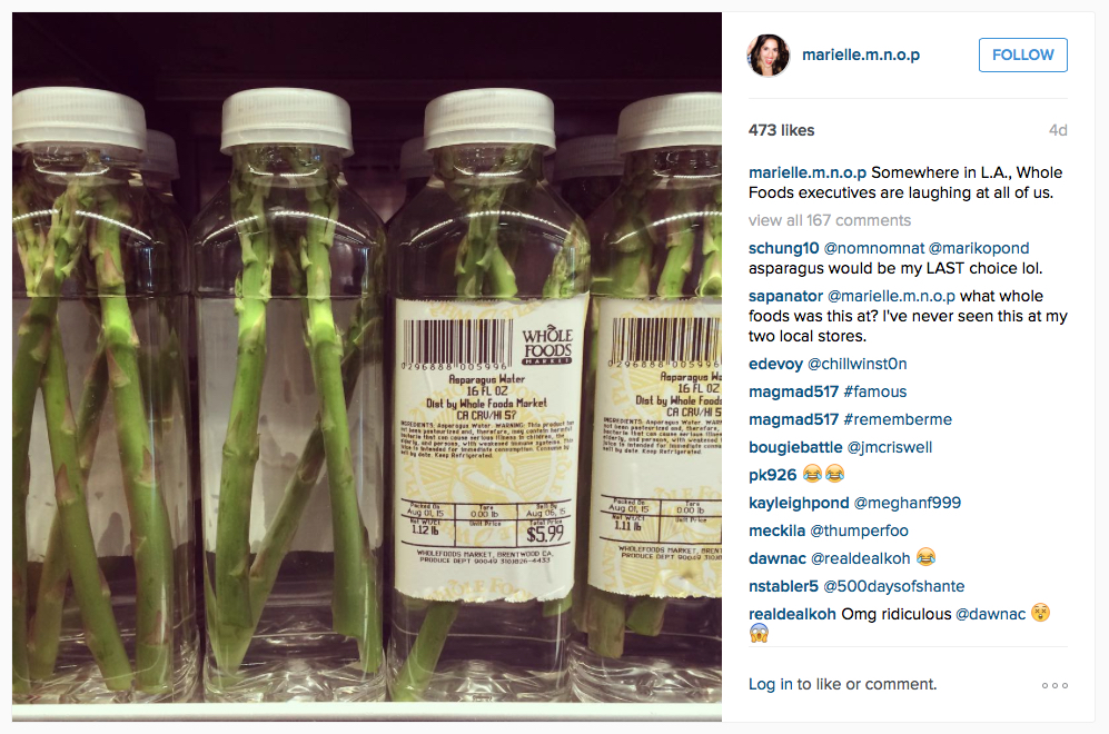 """Marielle Wakim posted the now-iconic image of """"asparagus water"""" on her Instagram"""
