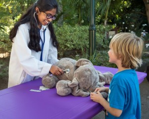 """Kids can bring their stuffed elephants for a """"checkup"""" during World Elephant Day activities."""