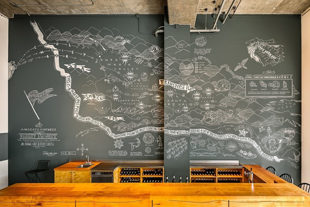A mural of Santa Barbara County by Elkpen for Anacapa Vinters. Photo from the artist's website.