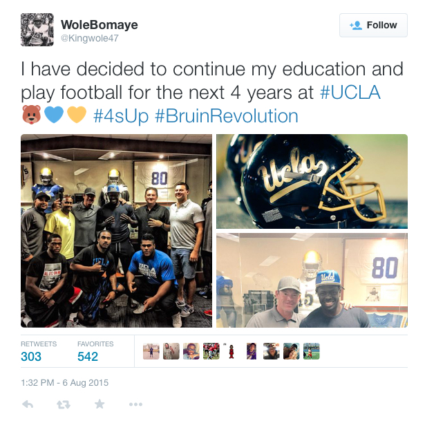 Oluwole Betiku posted his intention to attend UCLA on his Twitter account