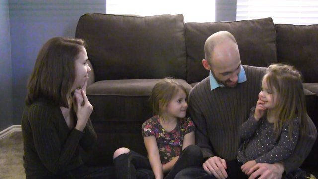 Sheena McFeely, husband Manny Johnson, and their two daughters Shay and Ivy Mansfield in an episode of ASL Nook, an instructional webseries broadcasted in American Sign Language.