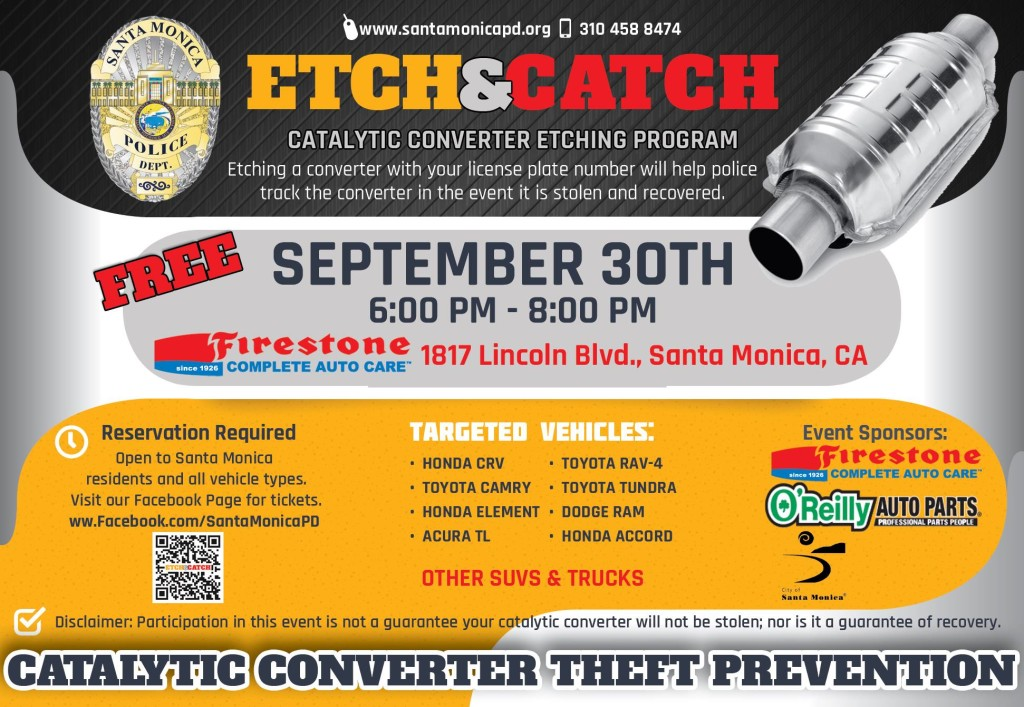 The flier for the Etch & Catch event includes a list of commonly targeted vehicles.