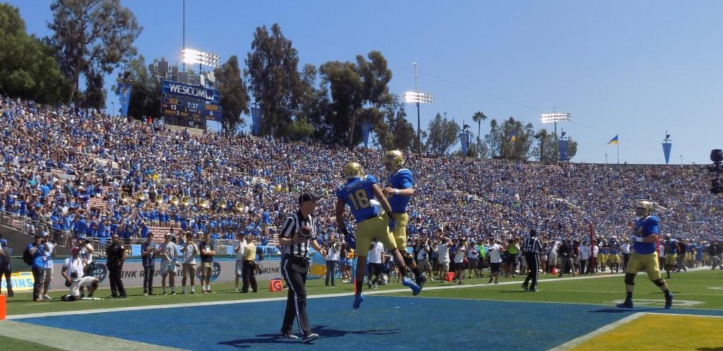Wide receiver Thomas Duarte and QB Josh Rosen celebrate second quarter touchdown connection.