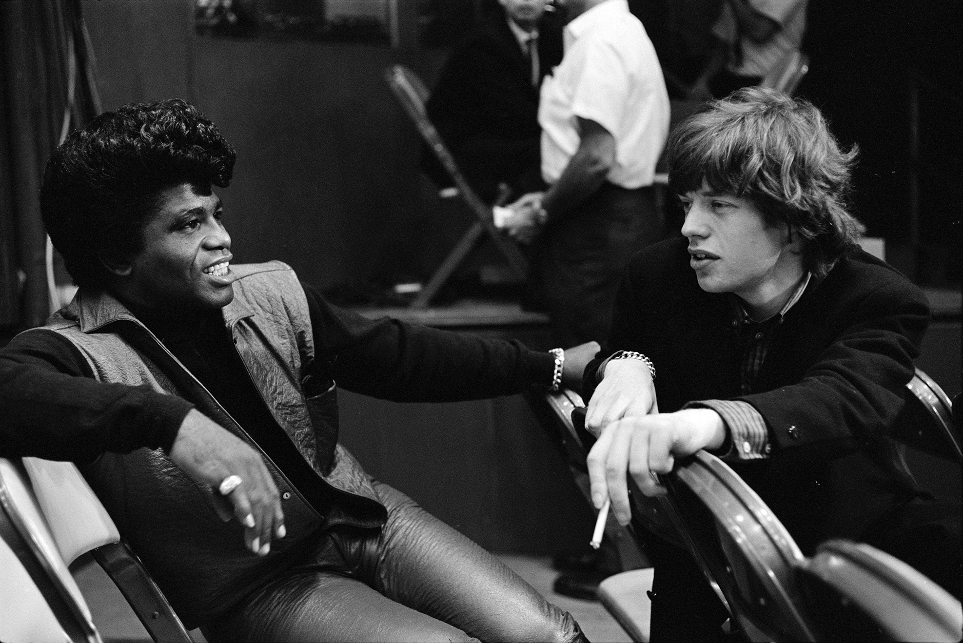 This photo from the Bob Bonis Archive, taken on October 28, 1965, shows Mick Jagger meeting James Brown for the first time.